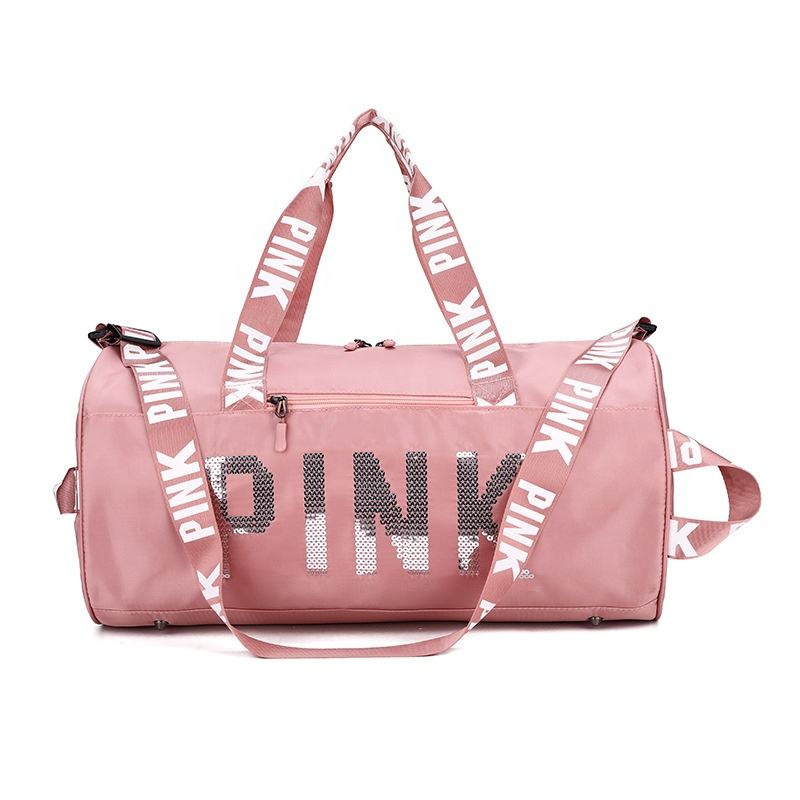 Fashion Large capacity Waterproof Men travel duffel overnight bag women sequin pink duffle bag sports travel bags for travel