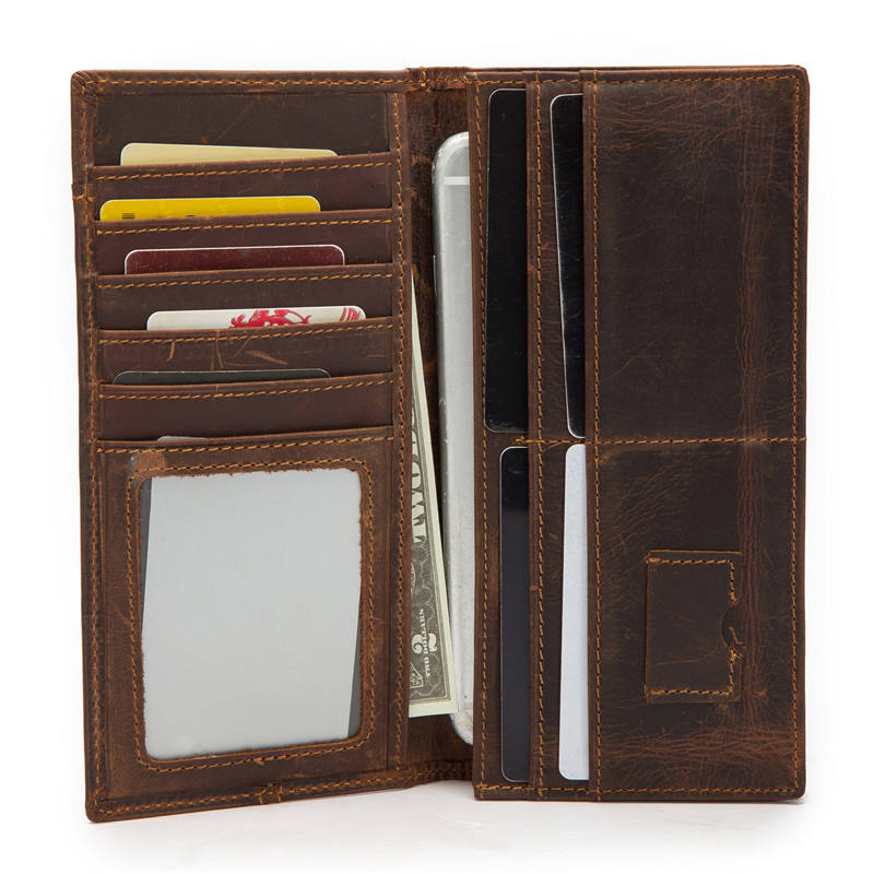 Men Crazy Horse Leather Bifold Flipout ID Wallet Credit Card ID Window and Coin Pocket with Zipper