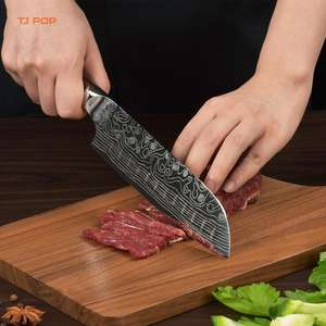 Wholesale/Custom 7 Inch Damascus Laser Pattern Santoku Knife with Pakkawood Handle High Carbon German Steel Kitchen Chef Knife