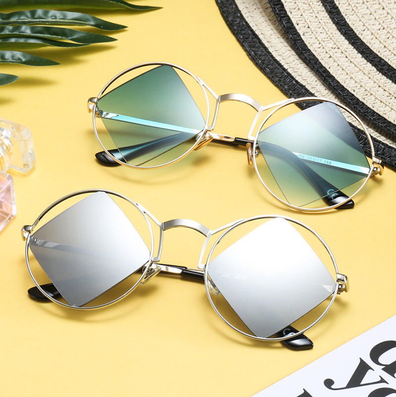 2018 Fashion Metal Round Frame Square Lens Steampunk Style Sunglasses Vintage New Brand Design Sun Glasses Oculos De Sol