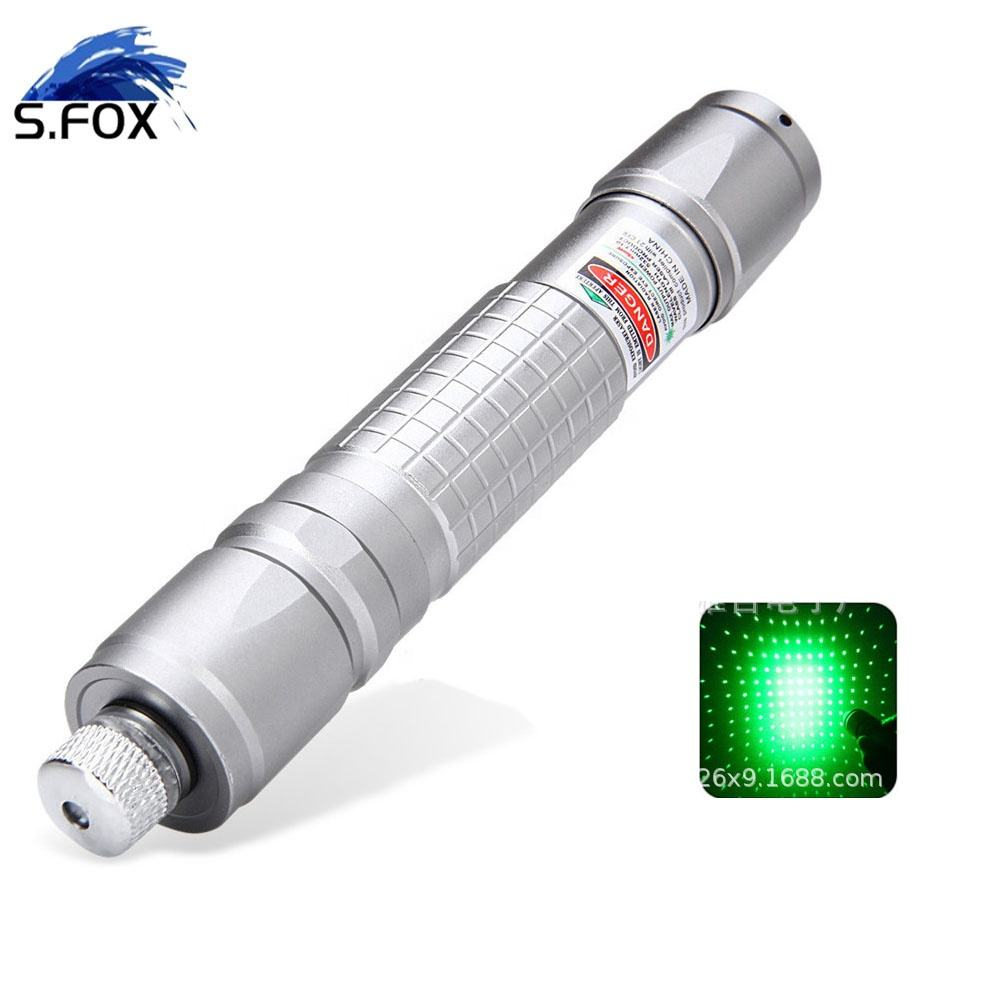 Webshop Hot Product Customized Free LOGO Green Light Laser Pointer with On Off Wwitch and Star Heads
