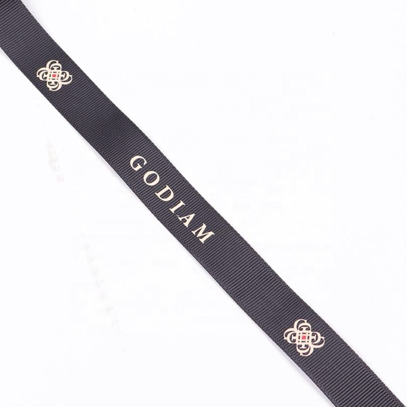 OEM 2cm Black Ribbon with Printed Logo 100% Polyester Ribbon Wholesale Decoration Customised Grosgrain Gift Packing Ribbon