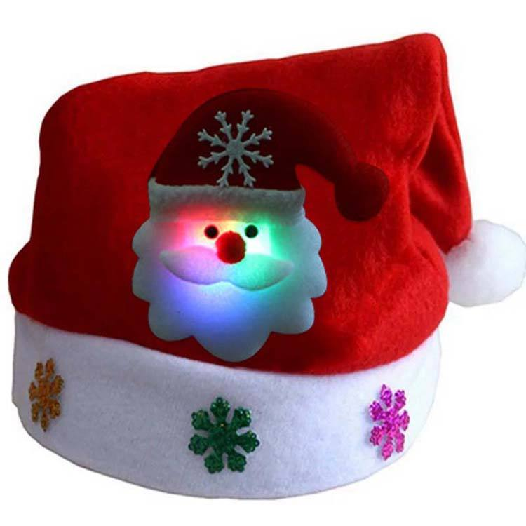 Factory High quality Cheap Christmas Santa Claus Hat LED Kids Mini Christmas Party Hats LED Christmas Hat With Light