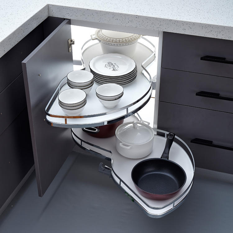 Space-saving LAZY SUSSAN swing tray at kitchen cabinet magic corner