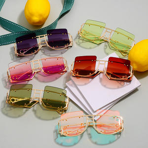 2020 Hot Trendy Oversized Square Sun Glasses Top Women Red Brown Tinted Color Lens UV400 Retro Women Men Sun Glasses