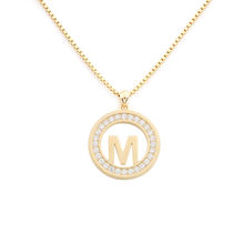 Gold Plated Initial Disc Alphabet Monogram Jewelry Letter M With Cz Necklace For Girls