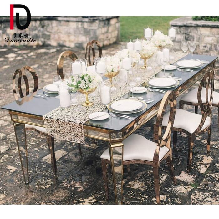 Mirror top stainless steel dining banquet event decoration wedding table