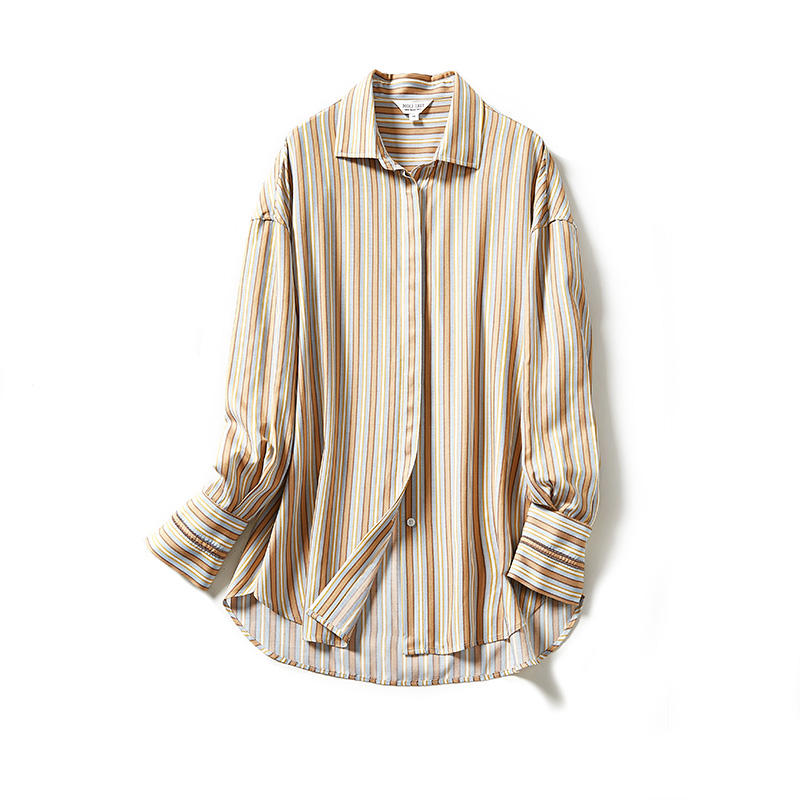 Wholesale High Quality Fashion Spring Long Sleeve Copper Ammonia Vertical Stripe Women Shirt