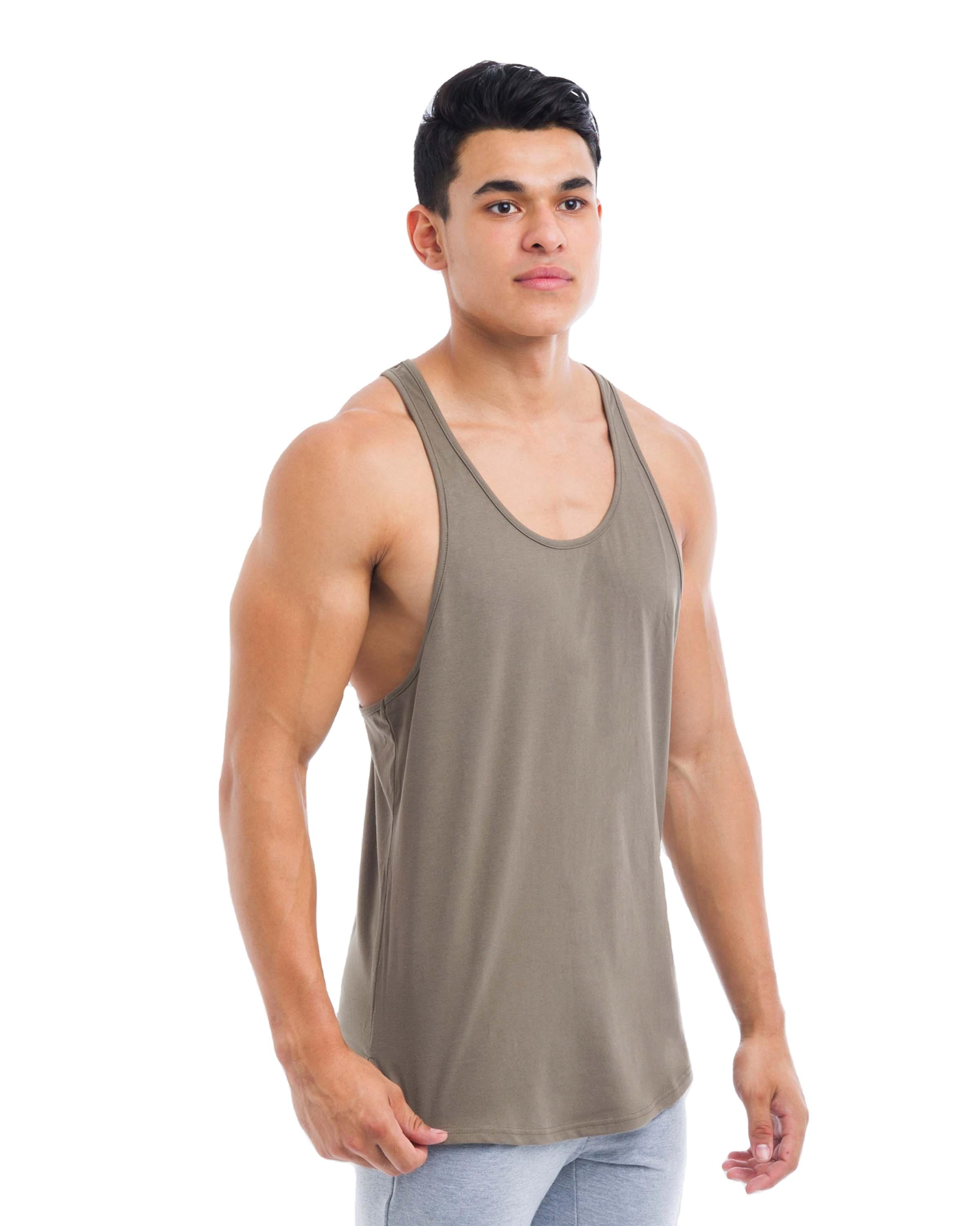 Pure Cotton Material Stretch String Vest Men's t-Shirt Undershirt Singlet