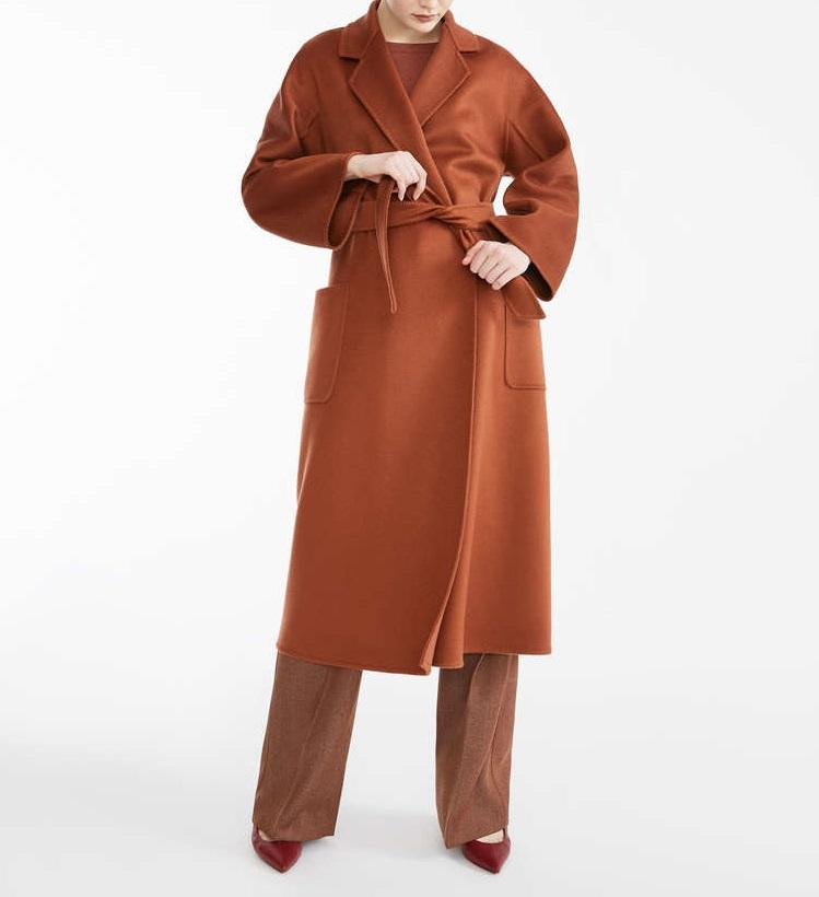 Winter women long cashmere coat with belt