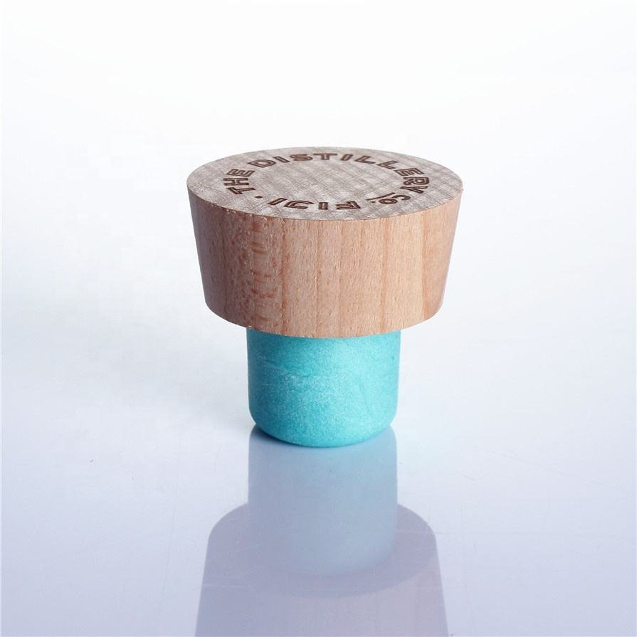 T shape aluminum wooden plastic wine spirits bottle top cap liquor synthetic cork stopper bar top cap with blue color