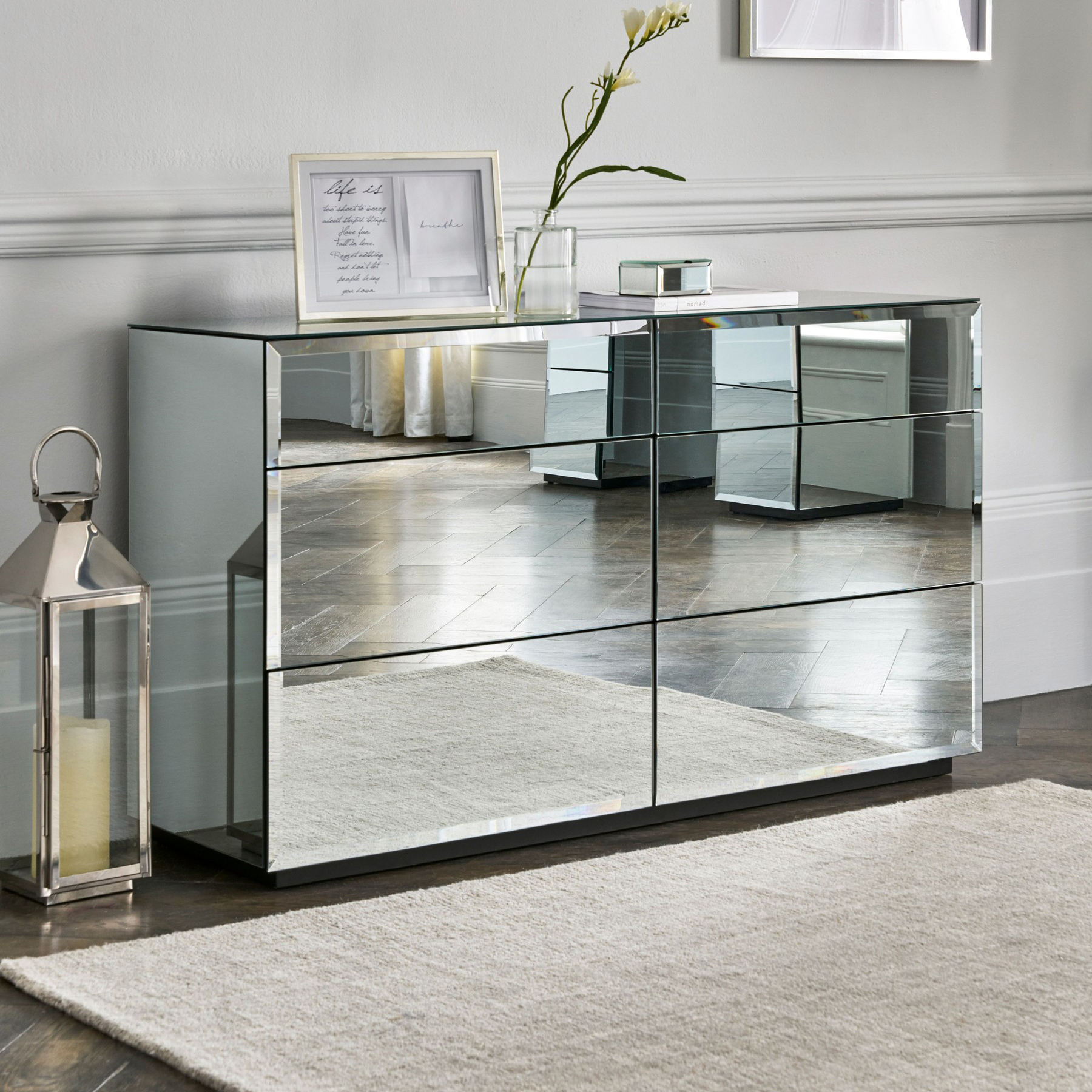 Silver glass mirrored chest of drawers mirrored furniture