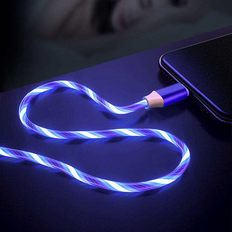 Metal Led Flowing light date cable 2A TPE Charging USB Mirco 1M for For Android Device for Samsung S6 Xiaomi For Huawei