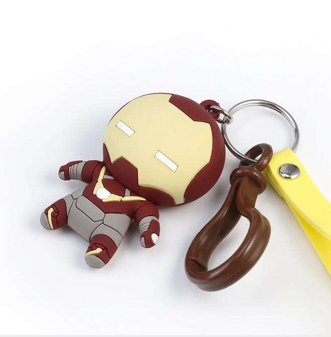 Customized Marvel Avengers 3d PVC keychains whole sale Promotional gifts Cute silicone car keychain