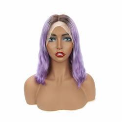Wholesale 1b/Purple Body Wave Mink Malaysian Human Virgin Hair Color Bob Transparent HD Lace Frontal Middle Part Short Bob Wig
