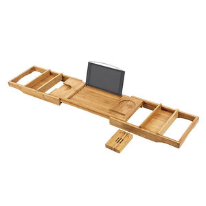Non-Slip Bathtub Caddy Adjustable Handcrafted Bath Tray with Reading Rack, luxury bamboo bathroom accessories