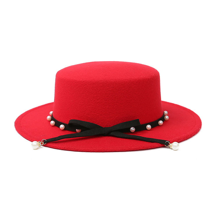 Fashion Wide Brim Wool Felt Fedora Hat Vintage Women Cheap Winter Hat with pearl