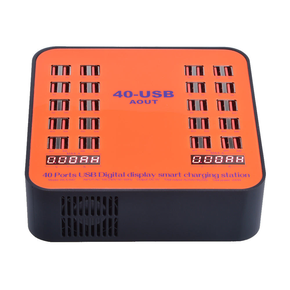 USB Charger 40 Ports Digital Display Smart Phone Charging Station For iPhone iPad Samsung Restaurant Airport