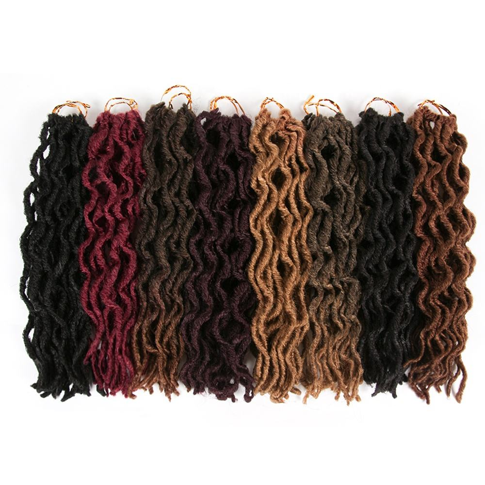 AliLeader Wholesale Curly Synthetic Crochet Hair Nu Faux Locs Hair Extensions Wavy Faux Locs For Women