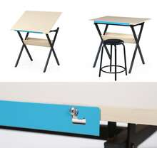 Factory sale small size portable art and craft drafting table desk wood tiltable top metal legs drawing table with chair
