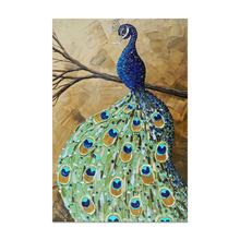 Wall Decor Beautiful Animal Abstract Handpainted Peacock Oil Painting