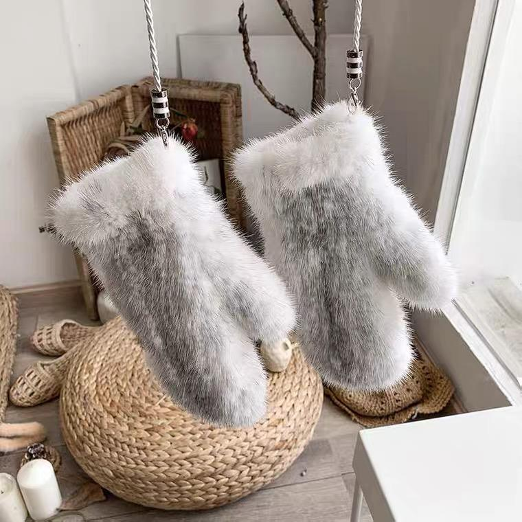 Lady Mink Fur Gloves/Knitted Mink Fur Women Gloves