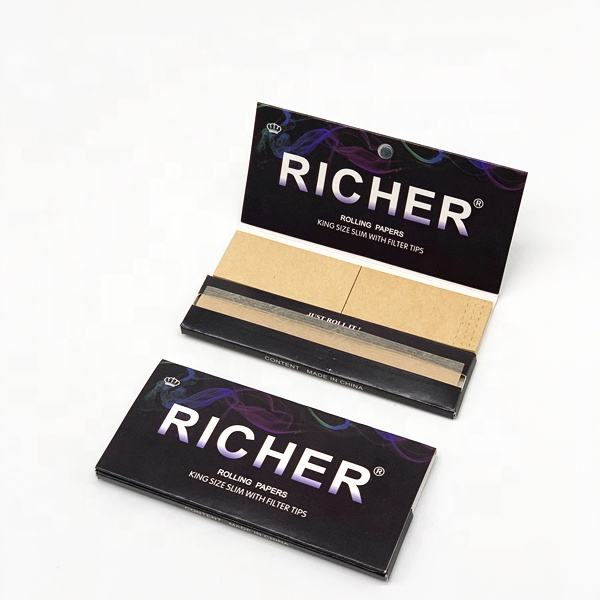 RICHER King Size Slim Unbleached Rolling Paper with Watermark with Filter tip in Magnetic Closure