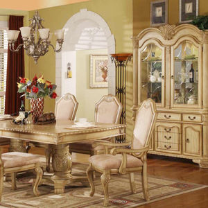 Classic European Style Antique Table Sets MDF Wooden Luxurious Dining Room Sets 6 Seater Dining Table Sets With Sideboard