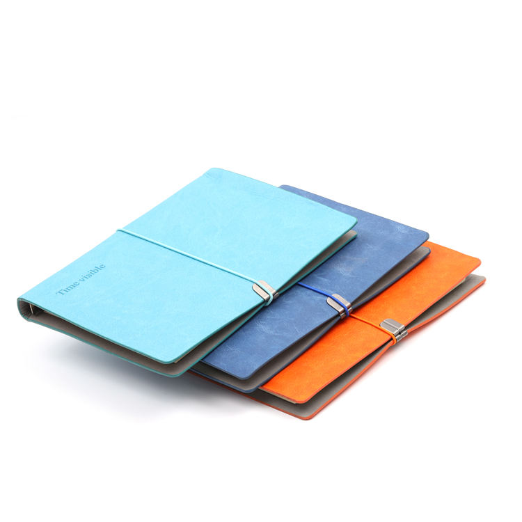 one color print PU cover A5 notebook with elastic strap