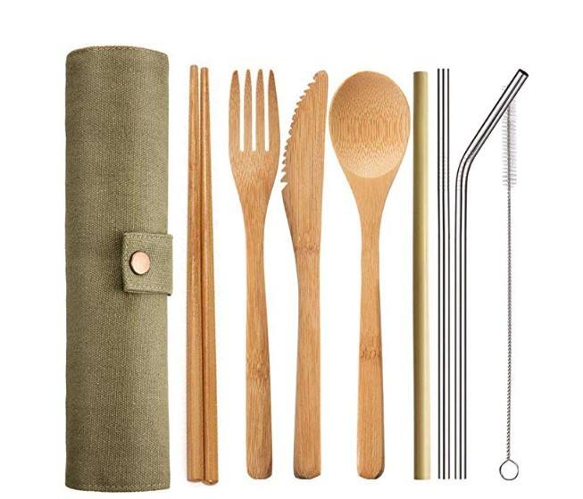 Wholesale organic kitchen flatware set spoon fork knife chopsticks bamboo utensils with bag and cleaning brush
