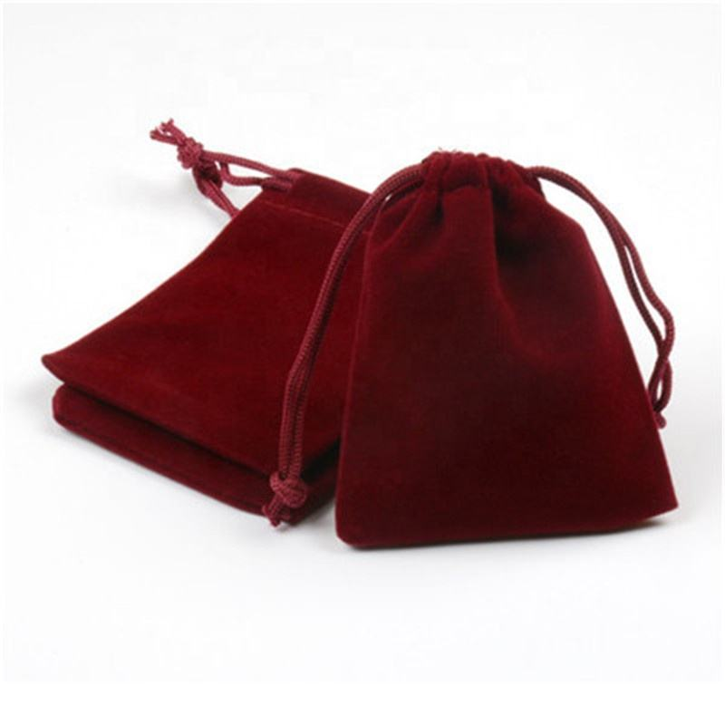 8*10cm high end red pouch gift packing velvet custom drawstring jewelry bag