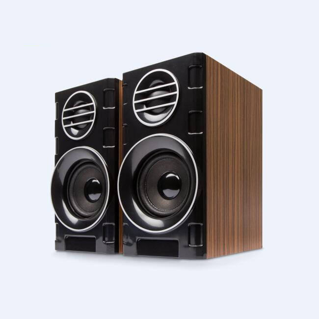 Powered Bookself 2.0 Speakers Wooden Material Active Computer Speaker