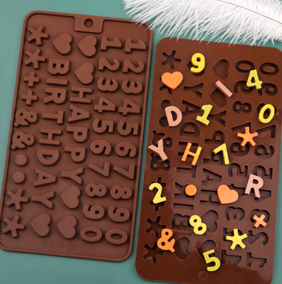 Free Sample 26 Number Letter Shaped and Happy Birthday Cake Mold Fondant Mold Silicone Chocolate Cake Moulds