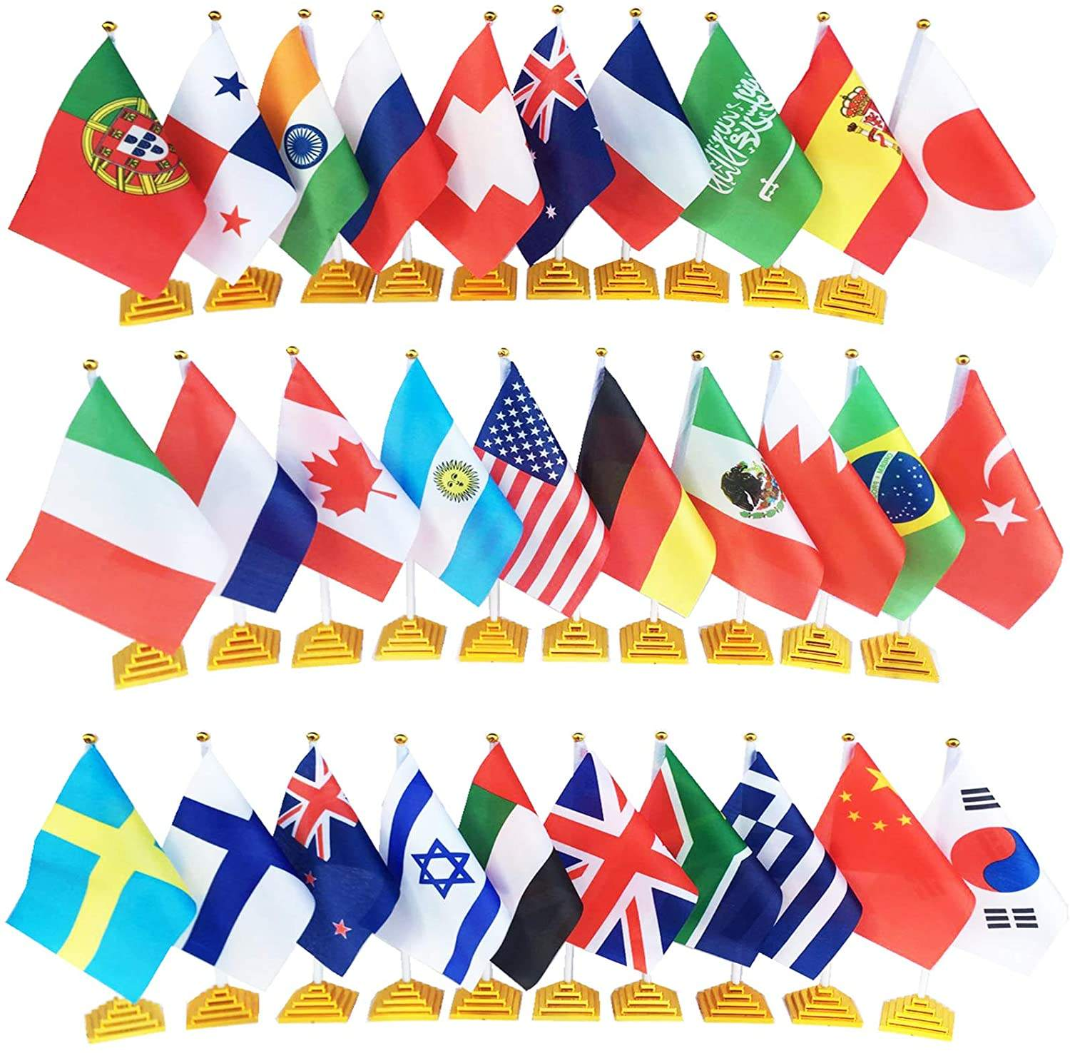 Internationale Tafel Vlag Office Vlag Stand Wit Pole Met Golden Top Vervagen Gouden Piramide Stand Bases Bureau Vlaggen