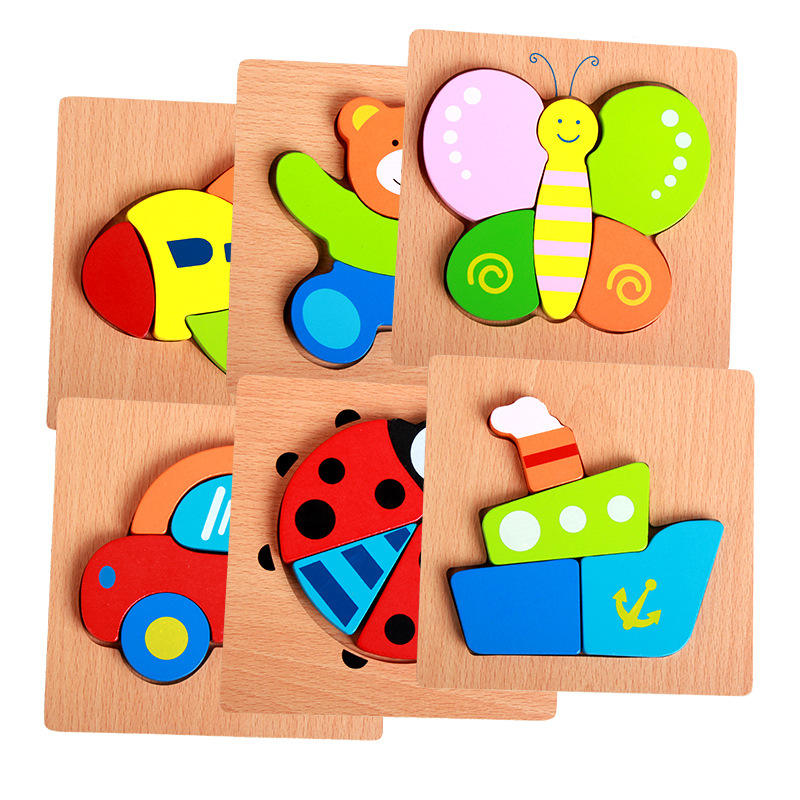 Mookids Colored Eco-friendly Jigsaw Child Play Mini Colorful Puzzle Educational Wooden Toy Sets Game for Kids