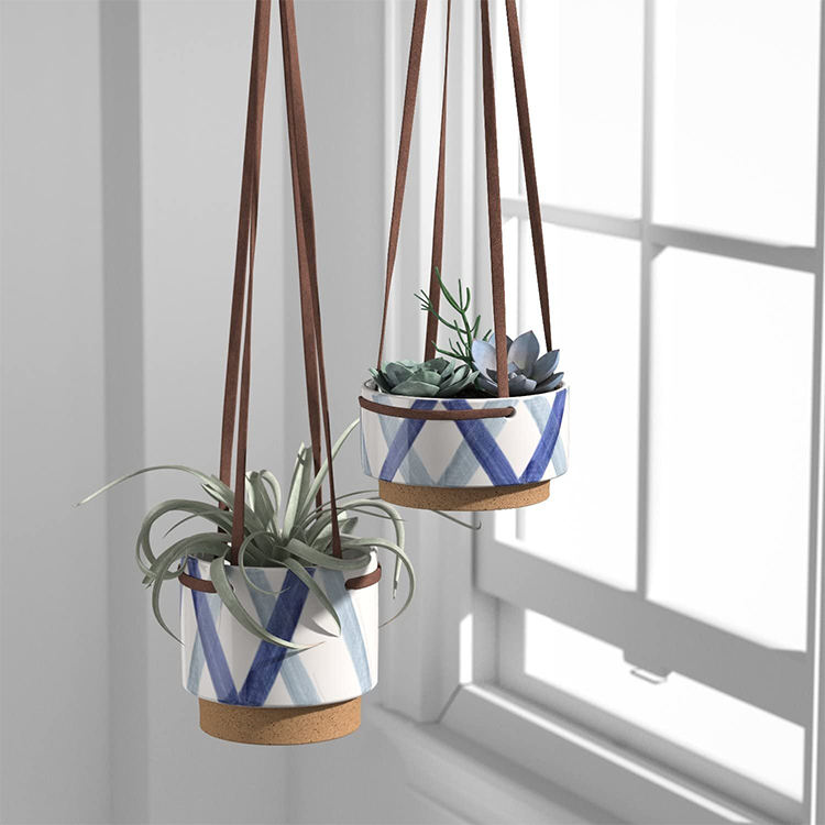 Wholesale hand painted home decorative small leather strap plant pots ceramic hanging planter