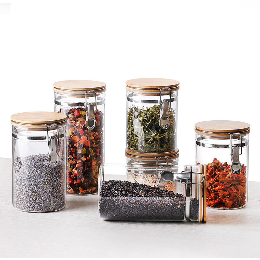 Glass Airtight Food Storage Jars Containers Set with Airtight Locking Clamp Lids Wide Mouth Jars Canisters Set