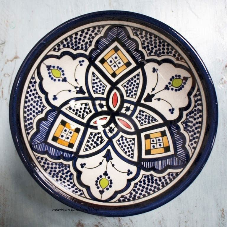 Moroccan Ceramic Plate, Decorative Plate Ceramic Dinnerware Serving Plate, Wall Hanging Plate Ceramic Wall Plate