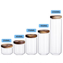 Wholesale wide mouth 500g glass bee honey storage jar with wooden cover