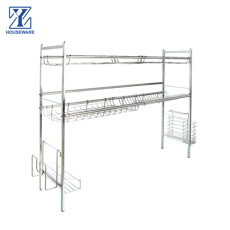 Storage Holders & Racks High Quality Disassemble Kitchen Stainless Steel silver over the sink Dish Bowl Rack