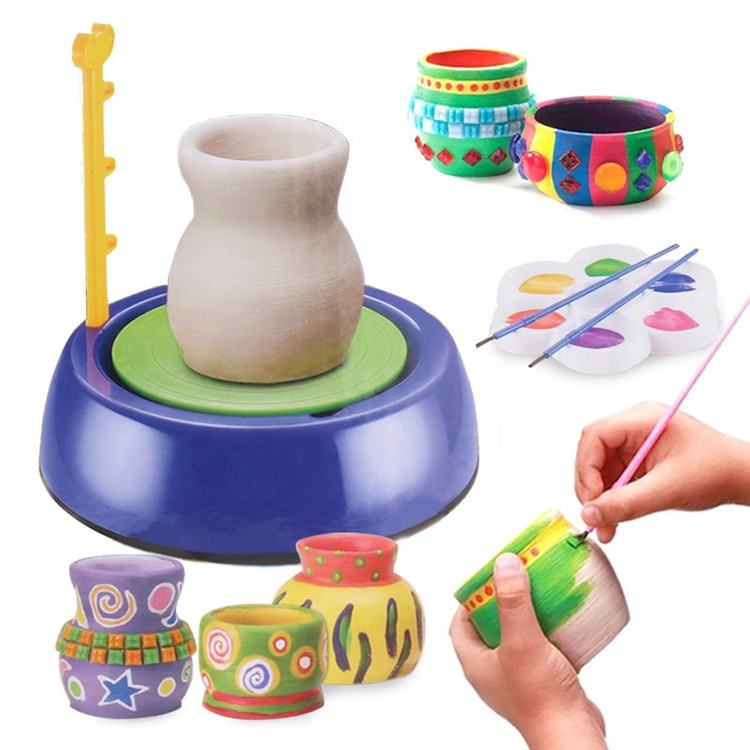 Pottery Wheel For Kids Pottery Wheel Art Craft Kit Arts and Crafts Kids Toy Air Dry Sculpting Clay and Craft Paint kit for Kids