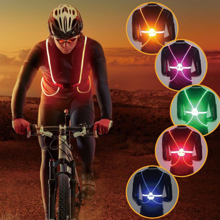 LED Safety Vest Night Sport Glowing Reflective Running Riding Walking Vest