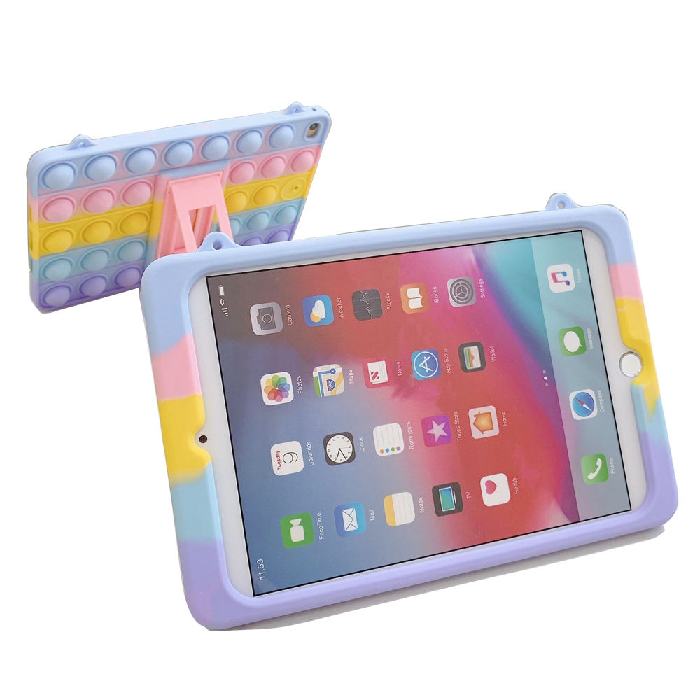 Rainbow Pop Its Tablet Pc Case for Kids BPA FREE Cute Silicone Rubber Cover for ipad mini 10.2inch Tablet Pc