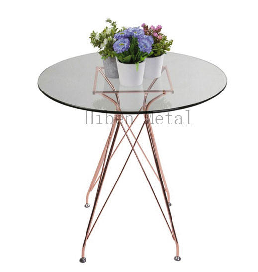 2020 European Glass Coffee Table Rose Gold Living Room Furniture Coffee Table