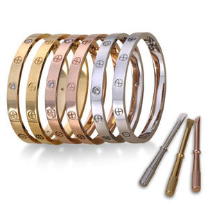 Stainless Steel Wanita Cinta Sekrup Manset Bangle Gelang