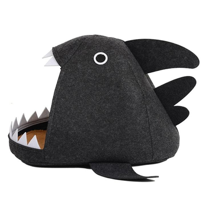 Custom New Design Four Seasons Washable Felt Shark Pet Cat Dog Bed For Pet