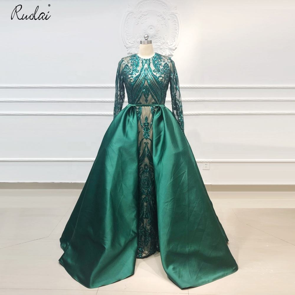 OEV-L4273 Real Sample Modest Arabic Long Sleeve Sparkling Detachable Skirt Luxury Evening Dresses