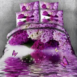 BABSON Water purple hyacinth digital printing quilt cover printing bed sheet pillowcase Amazon personalized Bedding Set