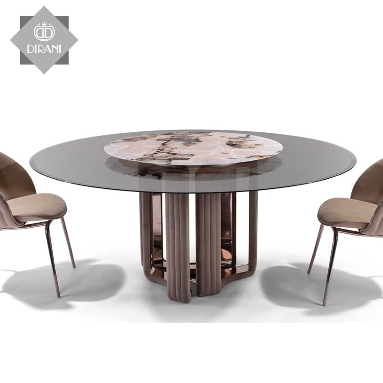 Nordic round dining table dining table set luxury Modern quality round black glass top dining table with lazy susan
