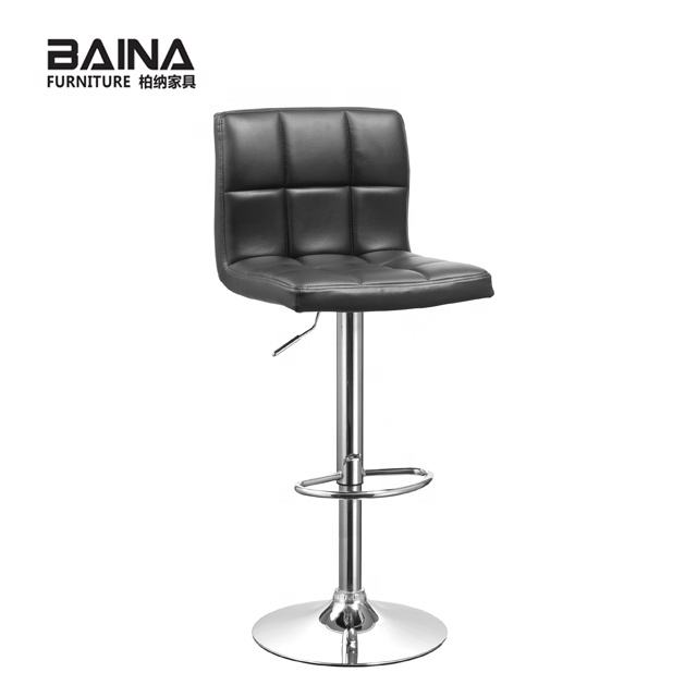 Modern PU faux leather commercial swivel kitchen bar stool
